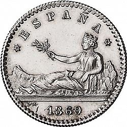 Large Obverse for 20 Céntimos 1869 coin