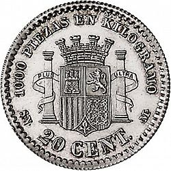 Large Reverse for 20 Céntimos 1869 coin