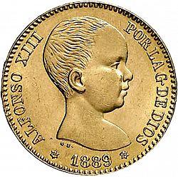 Large Obverse for 20 Pesetas 1889 coin