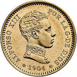 Large Obverse for 20 Pesetas 1904 coin