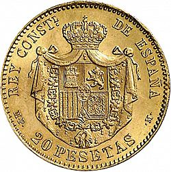 Large Reverse for 20 Pesetas 1889 coin