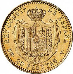 Large Reverse for 20 Pesetas 1899 coin