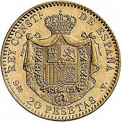 Large Reverse for 20 Pesetas 1904 coin