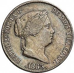 Large Obverse for 25 Céntimos Real 1863 coin