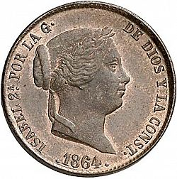 Large Obverse for 25 Céntimos Real 1864 coin