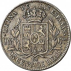 Large Reverse for 25 Céntimos Real 1863 coin