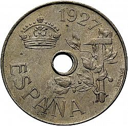 Large Obverse for 25 Céntimos 1927 coin