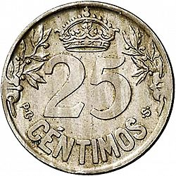 Large Reverse for 25 Céntimos 1925 coin
