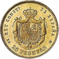 Large Reverse for 25 Pesetas 1878 coin