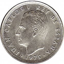Large Obverse for 25 Pesetas 1975 coin