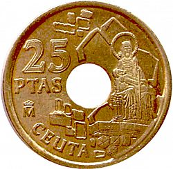 Large Reverse for 25 Pesetas 1998 coin