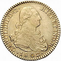 Large Obverse for 2 Escudos 1802 coin