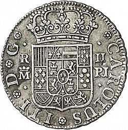 Large Obverse for 2 Reales 1765 coin