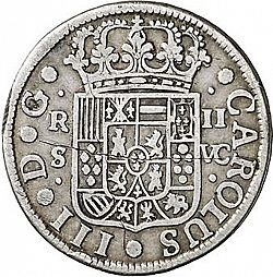 Large Obverse for 2 Reales 1766 coin