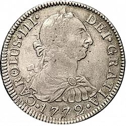 Large Obverse for 2 Reales 1772 coin