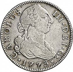 Large Obverse for 2 Reales 1773 coin