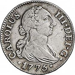 Large Obverse for 2 Reales 1775 coin