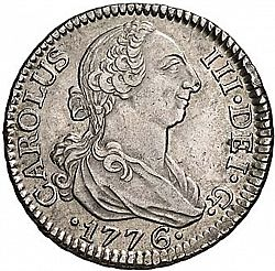 Large Obverse for 2 Reales 1776 coin