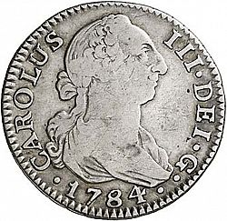 Large Obverse for 2 Reales 1784 coin
