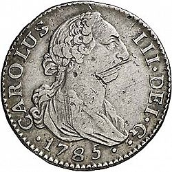Large Obverse for 2 Reales 1785 coin