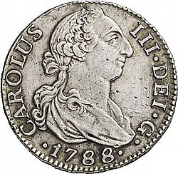 Large Obverse for 2 Reales 1788 coin