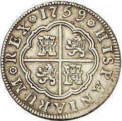 Large Reverse for 2 Reales 1759 coin