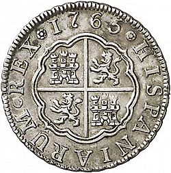 Large Reverse for 2 Reales 1765 coin