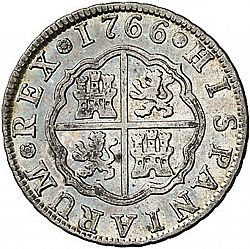 Large Reverse for 2 Reales 1766 coin