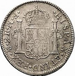 Large Reverse for 2 Reales 1772 coin