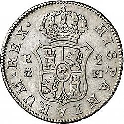 Large Reverse for 2 Reales 1773 coin