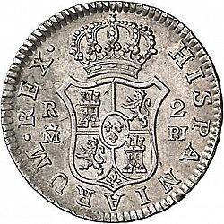 Large Reverse for 2 Reales 1776 coin