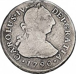Large Obverse for 2 Reales 1790 coin