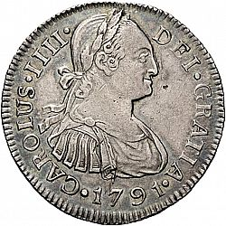 Large Obverse for 2 Reales 1791 coin