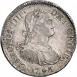 Large Obverse for 2 Reales 1793 coin