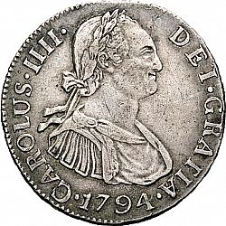 Large Obverse for 2 Reales 1794 coin