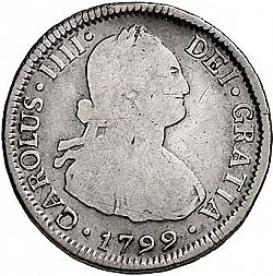 Large Obverse for 2 Reales 1799 coin