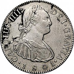 Large Obverse for 2 Reales 1801 coin
