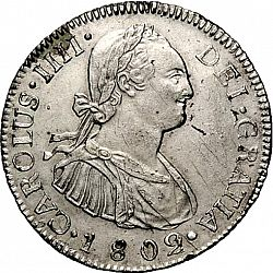Large Obverse for 2 Reales 1802 coin