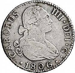 Large Obverse for 2 Reales 1806 coin