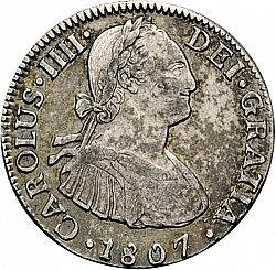 Large Obverse for 2 Reales 1807 coin