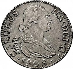 Large Obverse for 2 Reales 1808 coin