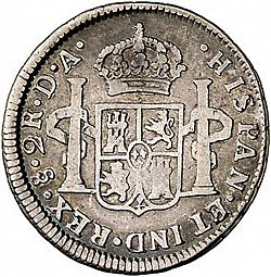 Large Reverse for 2 Reales 1789 coin