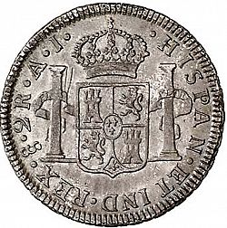 Large Reverse for 2 Reales 1801 coin