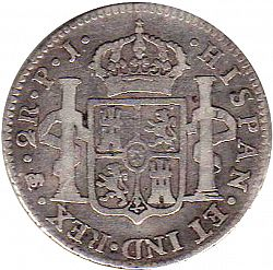 Large Reverse for 2 Reales 1807 coin