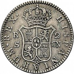 Large Reverse for 2 Reales 1808 coin