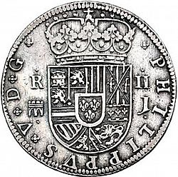 Large Obverse for 2 Reales 1717 coin