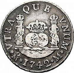 Large Reverse for 2 Reales 1742 coin
