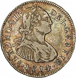 Large Obverse for 2 Reales 1814 coin