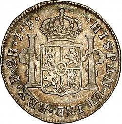 Large Reverse for 2 Reales 1814 coin