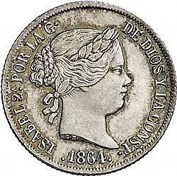 Large Obverse for 2 Reales 1864 coin